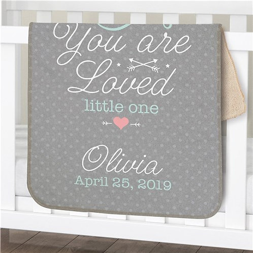 Personalized You Are Loved Little One Girl Sherpa Blanket