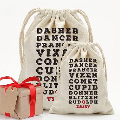Custom Christmas Reindeer Drawstring Sack | Personalized Santa Bag