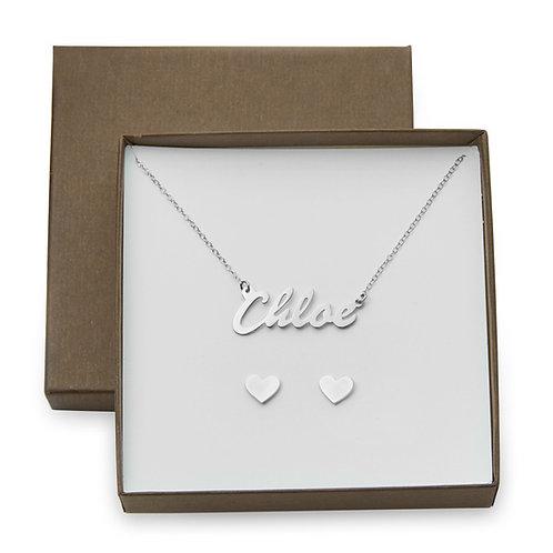 Chloe Style Name Necklace w/ Heart Stud Earrings Gift Box