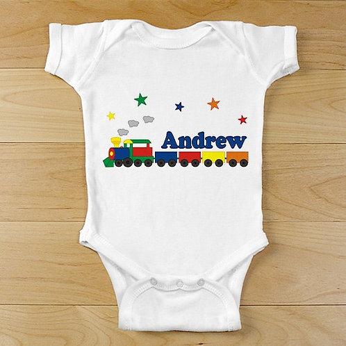 """New Baby """"All Aboard Baby Train"""" Personalized Infant Bodysuit"""