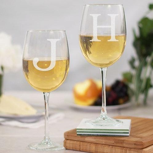 Block Initial Stemmed Wine Glass