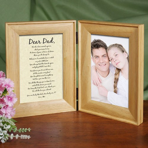 To My Dad... Natural Wood Bi-Fold Personalized Picture Frame