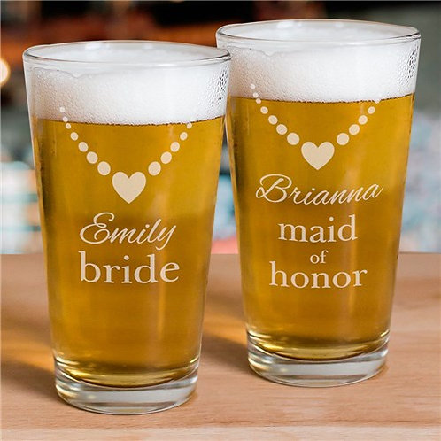 Engraved Bridal Party Beer Glass