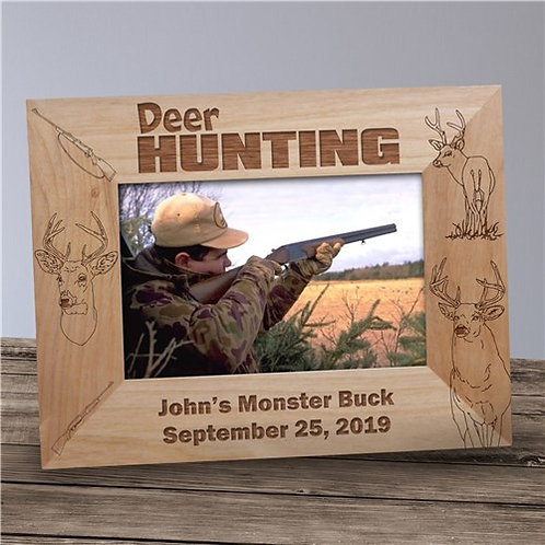 Engraved Deer Hunting Wood Picture Frame