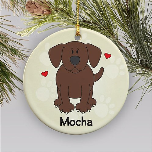 Personalized Ceramic Loved By My Chocolate Lab Christmas Ornament