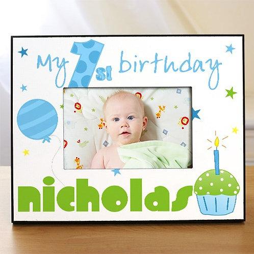 Baby Boy's 1st Birthday Printed Frame