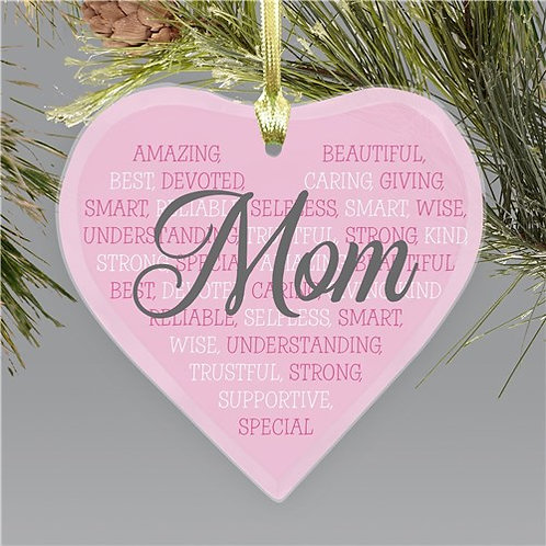 Personalized Mom Word Art Heart Heart Shaped Glass Ornament