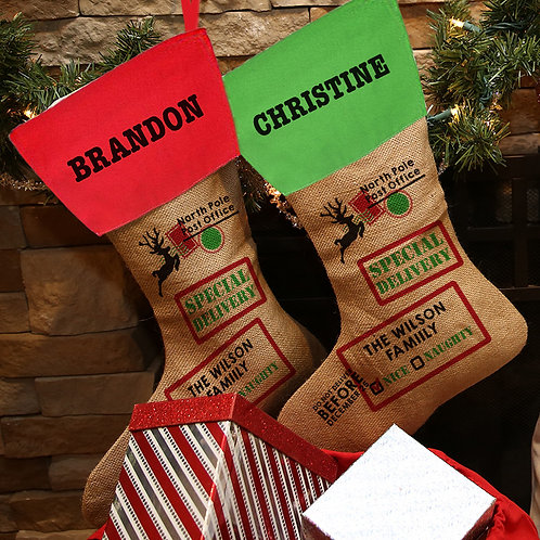 Special Delivery Linen Custom Christmas Stocking