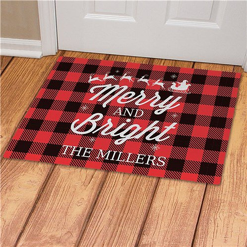 Personalized Merry And Bright Doormat
