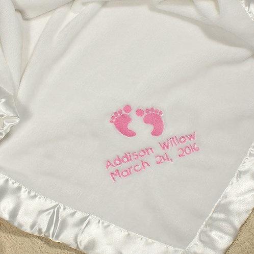 Embroidered Baby Girl Fleece Blanket