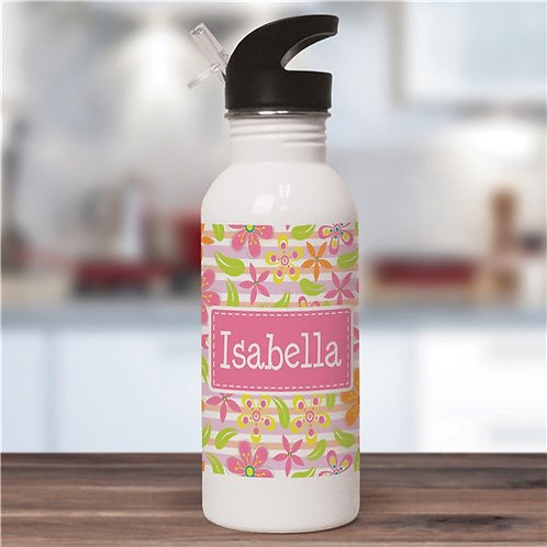 Personalized Floral Pattern Water Bottle