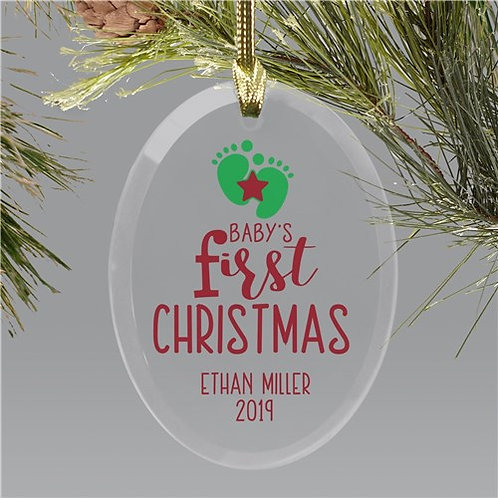 Personalized Footprint Oval Glass Ornament