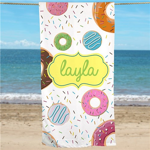 Personalized Donuts Beach Towel