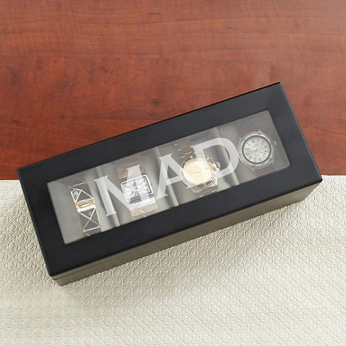 Engraved Initials Wood Watch Box-Blk