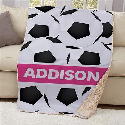 Personalized Soccer Sherpa Blanket