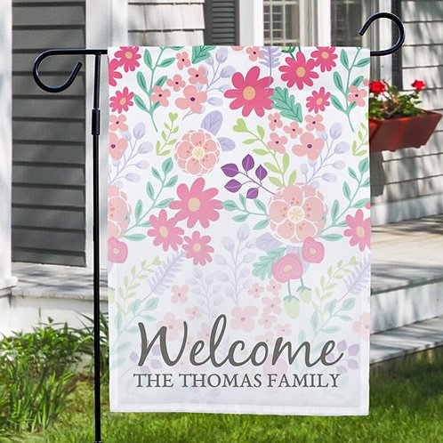 Personalized Floral Family Garden Flag