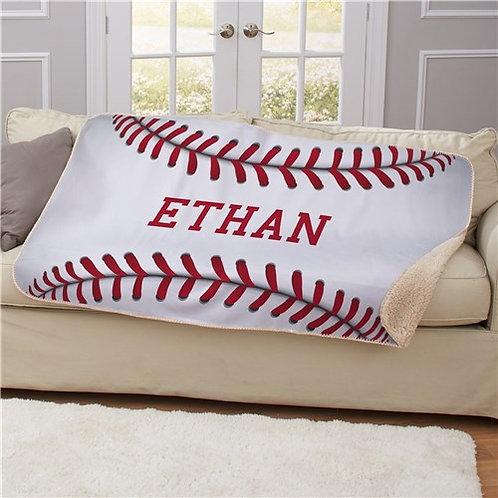 Personalized Baseball Sherpa Blanket