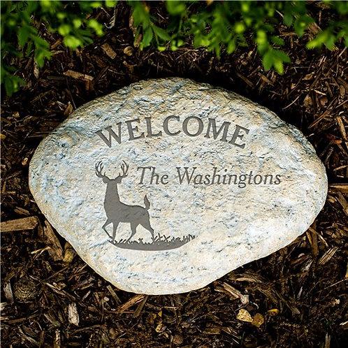 Engraved Deer Garden Stone
