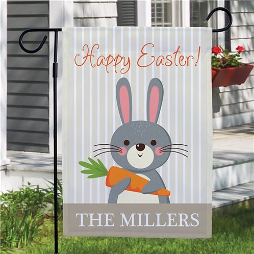 Personalized Bunny Holding Carrot Easter Garden Flag