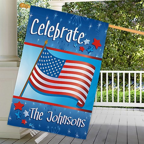 Personalized July 4th Celebration House Flag