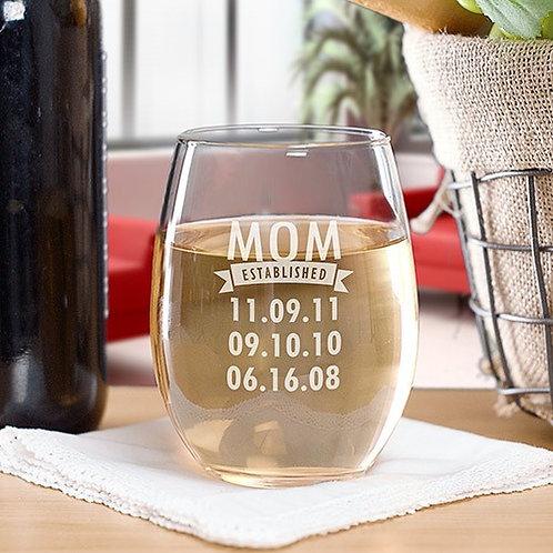 Engraved Mom Established Stemless Wine Glass