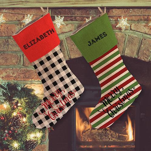 Custom Christmas Linen Holiday Stocking