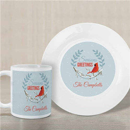 Personalized Seasons Greetings Plate And Mug Set