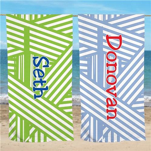 Personalized Stripes Beach Towel