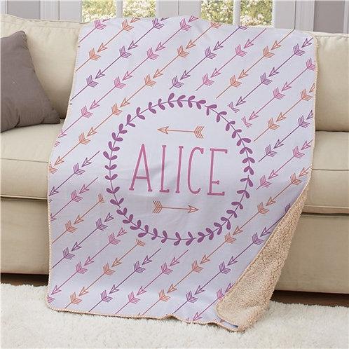 Personalized Arrows Sherpa Blanket 50x60
