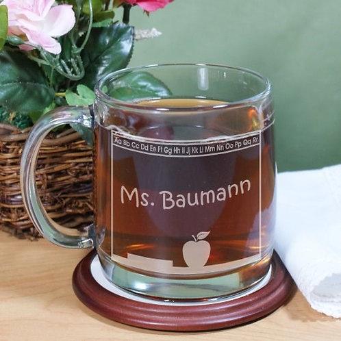 Teacher's Name Engraved Glass Mug