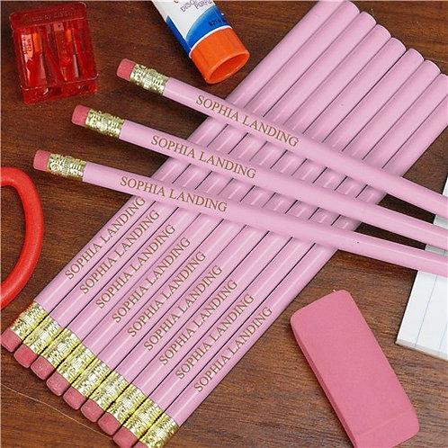 Engraved Pink School Wood Pencils