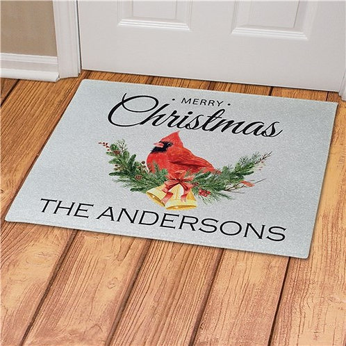 Personalized Merry Christmas Cardinal Doormat
