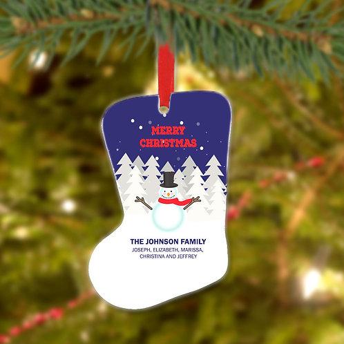 Snowman Family Christmas Stocking Metal Ornament