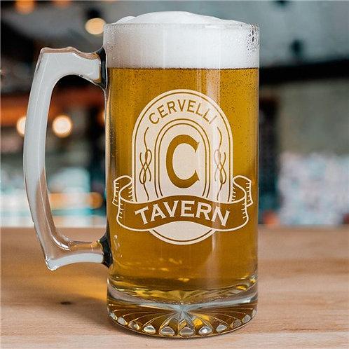 Engraved Tavern Glass Mug