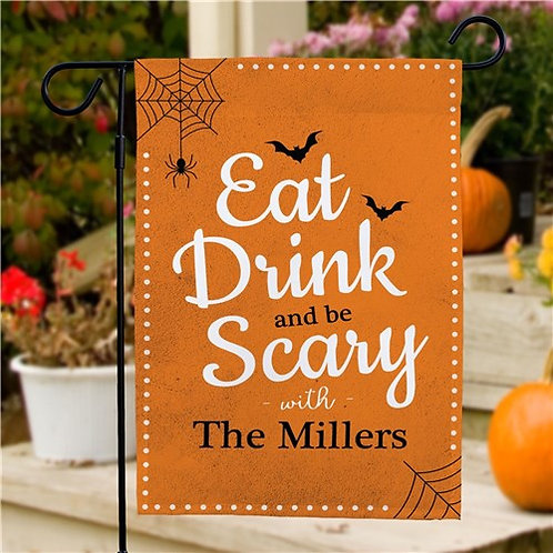 Personalized Eat Drink Be Scary Halloween Garden Flag
