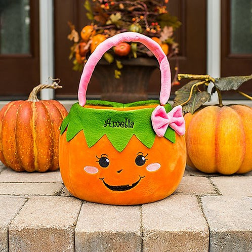 Embroidered Girl Pumpkin Trick or Treat Basket