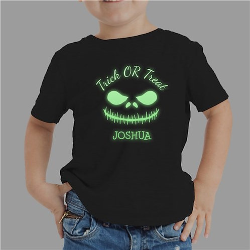 Glow In The Dark Scary Face Personalized T-Shirt