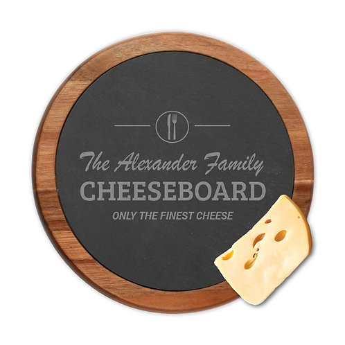 Personalized Finest Slate Cheese Board w/ Acacia Wooden Border