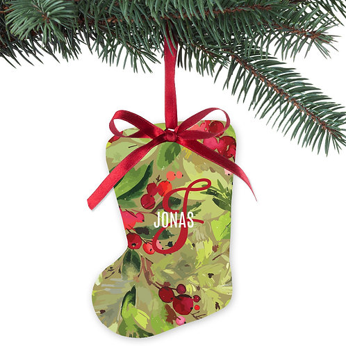 Pomegranate Christmas Stocking Metal Holiday Ornament