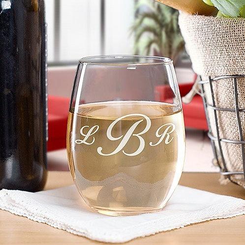Engraved Monogram Stemless Wine Glass