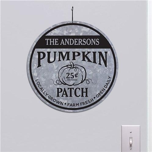 "Personalized Galvanized Pumpkin Patch 13"" Round Sign"