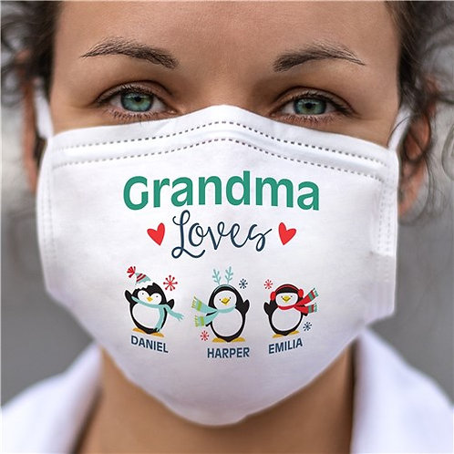 Personalized Grandma Loves With Penguins Adult Face Mask