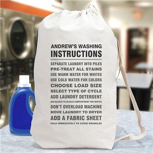 Personalized Washing Instructions Laundry Bag