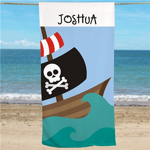 Pirate Ship Personalized Beach Towel