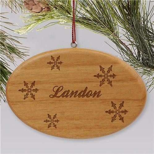 Engraved Snowflakes Wooden Oval Christmas Ornament