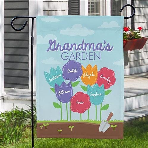 Personalized Grandma's Garden Garden Flag