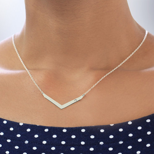 Boomerang Necklace Personalized with Swarovski Birthstone