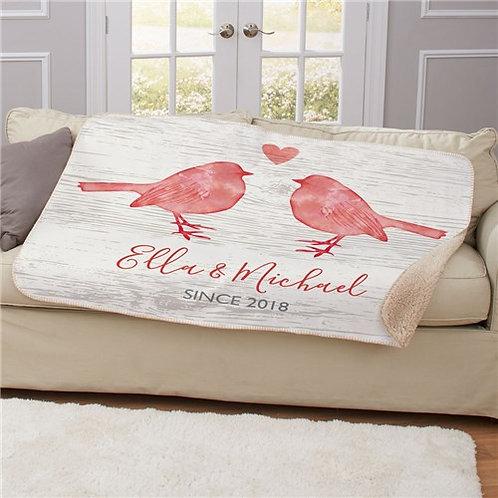 Personalized Love Birds Sherpa Blanket