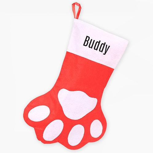 Personalized Paw Print Christmas Stocking
