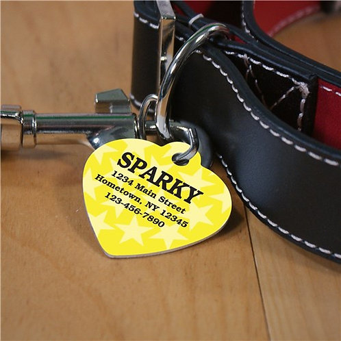 Personalized Yellow Stars Heart Pet Tag
